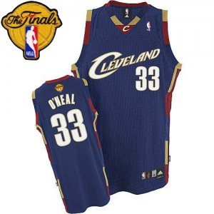 Maillot NBA Authentic Shaquille O'Neal #33 Cleveland Cavaliers Throwback 2015 The Finals Patch Bleu marin - Homme