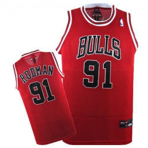 Maillot NBA Chicago Bulls #91 Dennis Rodman Rouge Nike Authentic - Homme