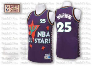 Maillot Adidas Violet Throwback 1995 All Star Authentic Charlotte Hornets - Alonzo Mourning #25 - Homme