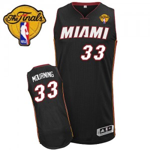 Maillot NBA Miami Heat #33 Alonzo Mourning Noir Adidas Authentic Road Finals Patch - Homme