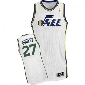 Maillot NBA Utah Jazz #27 Rudy Gobert Blanc Adidas Authentic Home - Homme