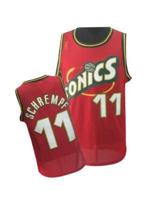 Oklahoma City Thunder Detlef Schrempf #11 Throwback SuperSonics Swingman Maillot d'équipe de NBA - Rouge pour Homme