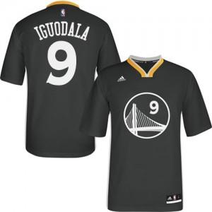 Golden State Warriors #9 Adidas Alternate Noir Authentic Maillot d'équipe de NBA pour pas cher - Andre Iguodala pour Homme