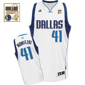 Dallas Mavericks #41 Adidas Home Champions Patch Blanc Swingman Maillot d'équipe de NBA la meilleure qualité - Dirk Nowitzki pour Homme