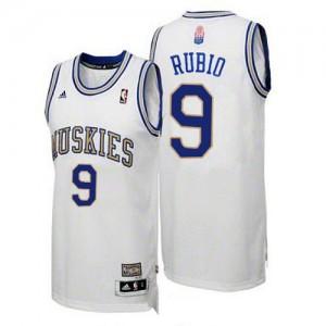 Minnesota Timberwolves #9 Adidas ABA Hardwood Classic Blanc Swingman Maillot d'équipe de NBA Peu co?teux - Ricky Rubio pour Homme