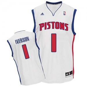 Maillot NBA Detroit Pistons #1 Allen Iverson Blanc Adidas Swingman Home - Homme