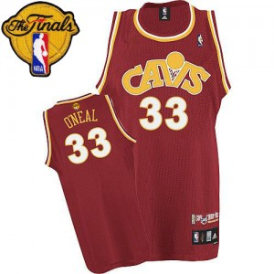 Maillot NBA Cleveland Cavaliers #33 Shaquille O'Neal Orange Mitchell and Ness Authentic CAVS Throwback 2015 The Finals Patch - Homme
