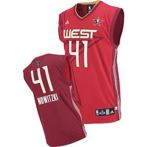 Dallas Mavericks #41 Adidas 2010 All Star Rouge Swingman Maillot d'équipe de NBA Expédition rapide - Dirk Nowitzki pour Homme