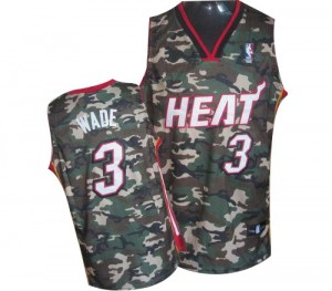Maillot NBA Miami Heat #3 Dwyane Wade Camo Adidas Swingman Stealth Collection Finals Patch - Homme