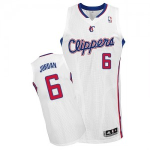 Maillot NBA Los Angeles Clippers #6 DeAndre Jordan Blanc Adidas Authentic Home - Homme