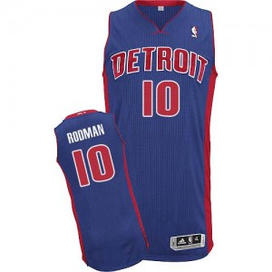 Maillot NBA Bleu royal Dennis Rodman #10 Detroit Pistons Road Authentic Homme Adidas