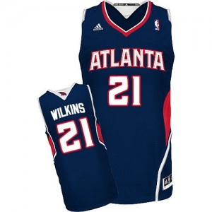 Atlanta Hawks #21 Adidas Road Bleu marin Swingman Maillot d'équipe de NBA Remise - Dominique Wilkins pour Homme