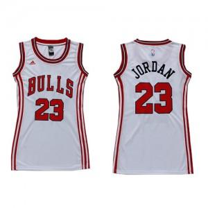 Maillot NBA Blanc Michael Jordan #23 Chicago Bulls Dress Swingman Femme Adidas