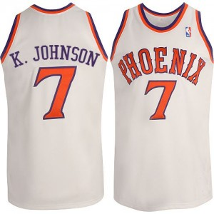 Maillot NBA Blanc Kevin Johnson #7 Phoenix Suns New Throwback Authentic Homme Adidas