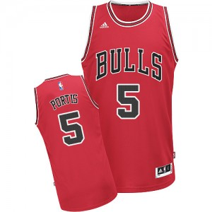 Maillot NBA Chicago Bulls #5 Bobby Portis Rouge Adidas Swingman Road - Homme