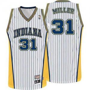 Indiana Pacers #31 Mitchell and Ness Throwback Blanc Swingman Maillot d'équipe de NBA la meilleure qualité - Reggie Miller pour Homme