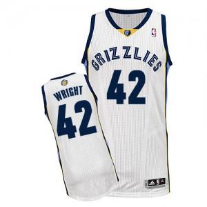Memphis Grizzlies Lorenzen Wright #42 Home Authentic Maillot d'équipe de NBA - Blanc pour Homme