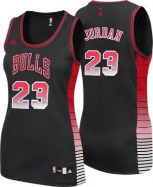Maillot NBA Chicago Bulls #23 Michael Jordan Noir Adidas Swingman Vibe - Femme