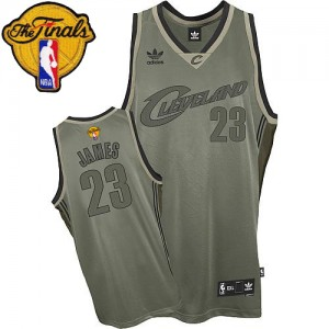 """Maillot Swingman Cleveland Cavaliers NBA """"Field Issue"""" 2015 The Finals Patch Gris - #23 LeBron James - Homme"""