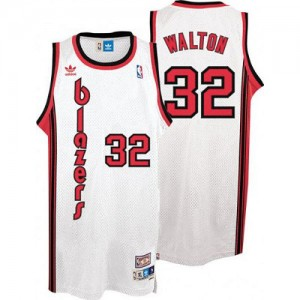 Maillot Authentic Portland Trail Blazers NBA Throwback Blanc - #32 Bill Walton - Homme