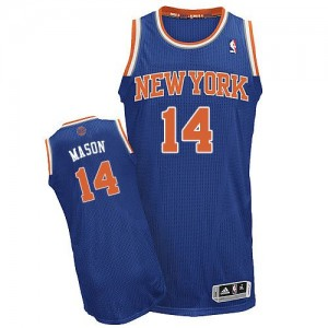 New York Knicks Anthony Mason #14 Road Authentic Maillot d'équipe de NBA - Bleu royal pour Homme