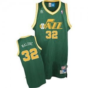 Maillot NBA Vert Karl Malone #32 Utah Jazz Throwback Swingman Homme Adidas