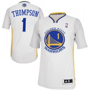 Maillot NBA Golden State Warriors #1 Jason Thompson Blanc Adidas Authentic Alternate - Homme