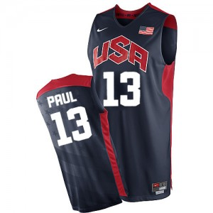 Maillot NBA Bleu marin Chris Paul #13 Team USA 2012 Olympics Authentic Homme Nike