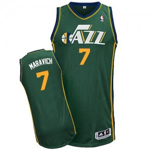Maillot Adidas Vert Alternate Authentic Utah Jazz - Pete Maravich #7 - Homme