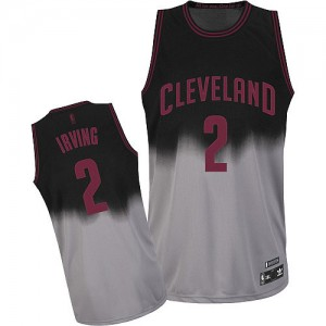 Maillot NBA Authentic Kyrie Irving #2 Cleveland Cavaliers Fadeaway Fashion Gris noir - Homme