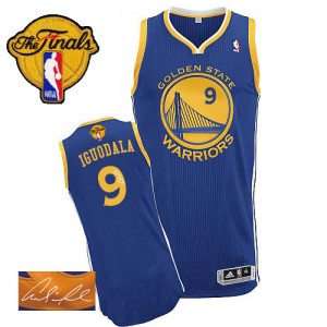 Maillot Authentic Golden State Warriors NBA Road Autographed 2015 The Finals Patch Bleu royal - #9 Andre Iguodala - Homme