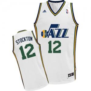 Maillot NBA Blanc John Stockton #12 Utah Jazz Home Swingman Homme Adidas