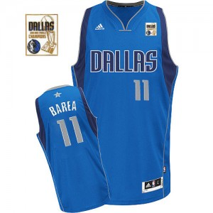 Maillot Adidas Bleu royal Road Champions Patch Swingman Dallas Mavericks - Jose Barea #11 - Homme