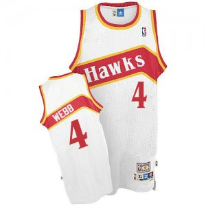 Maillot Authentic Atlanta Hawks NBA Throwback Blanc - #4 Spud Webb - Homme