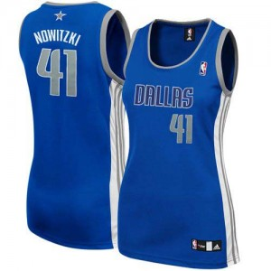 Dallas Mavericks #41 Adidas Alternate Bleu marin Authentic Maillot d'équipe de NBA à vendre - Dirk Nowitzki pour Femme