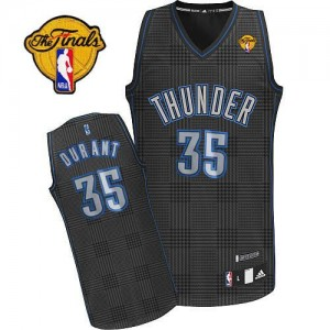 Maillot NBA Authentic Kevin Durant #35 Oklahoma City Thunder Rhythm Fashion Finals Patch Noir - Homme