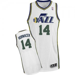Maillot NBA Utah Jazz #14 Jeff Hornacek Blanc Adidas Authentic Home - Homme