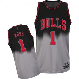 Maillot NBA Gris noir Derrick Rose #1 Chicago Bulls Fadeaway Fashion Authentic Homme Adidas