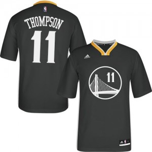 Maillot NBA Golden State Warriors #11 Klay Thompson Noir Adidas Swingman Alternate - Femme