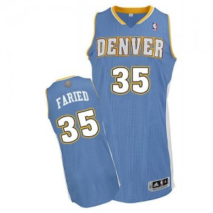 Maillot NBA Denver Nuggets #35 Kenneth Faried Bleu clair Adidas Authentic Road - Homme