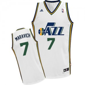 Utah Jazz Pete Maravich #7 Home Swingman Maillot d'équipe de NBA - Blanc pour Homme