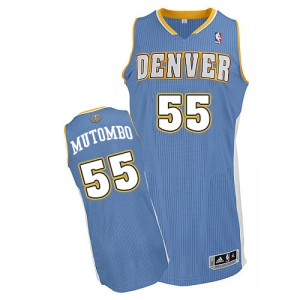 Maillot NBA Authentic Dikembe Mutombo #55 Denver Nuggets Road Bleu clair - Homme