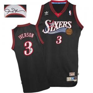Maillot NBA Noir Allen Iverson #3 Philadelphia 76ers 1997-2009 Throwback Autographed Authentic Homme Adidas