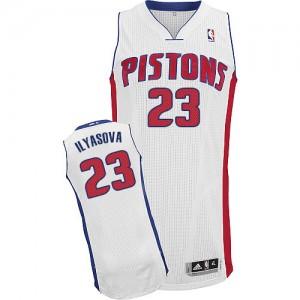 Maillot NBA Blanc Ersan Ilyasova #23 Detroit Pistons Home Authentic Homme Adidas
