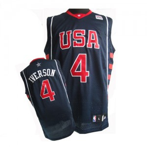 Maillot NBA Team USA #4 Allen Iverson Bleu marin Nike Authentic Summer Olympics - Homme