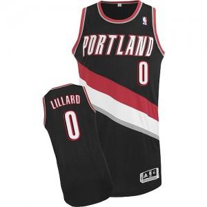 Maillot Adidas Noir Road Authentic Portland Trail Blazers - Damian Lillard #0 - Homme