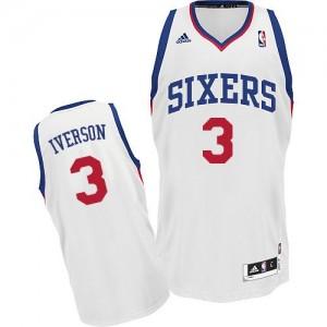 Philadelphia 76ers #3 Adidas Home Blanc Swingman Maillot d'équipe de NBA Magasin d'usine - Allen Iverson pour Homme