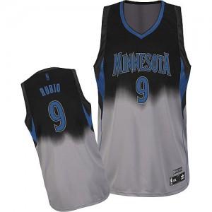 Minnesota Timberwolves #9 Adidas Fadeaway Fashion Gris noir Authentic Maillot d'équipe de NBA la meilleure qualité - Ricky Rubio pour Homme