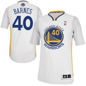 Maillot NBA Golden State Warriors #40 Harrison Barnes Blanc Adidas Authentic Alternate - Homme