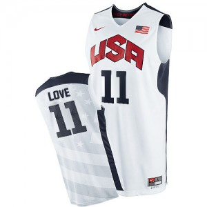 Maillot NBA Team USA #11 Kevin Love Blanc Nike Authentic 2012 Olympics - Homme